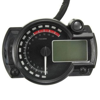 Blue Backlight LCD Digital Motorcycle Motorbike Speedometer Odometer Tachometer - intl - 3