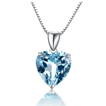 Blue Topaz Pendant Gemstone Jewelry 925 Sterling Silver Necklace Heart Women Romantic Gift