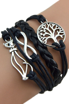 Bluelans Elephant Cat Hand Chain Multilayer Leather Bracelet Black