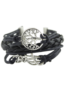 Bluelans Elephant Cat Hand Chain Multilayer Leather Bracelet Black - picture 2