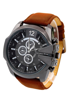 Bluelans Men Brown Faux Leather Strap Watch - picture 2