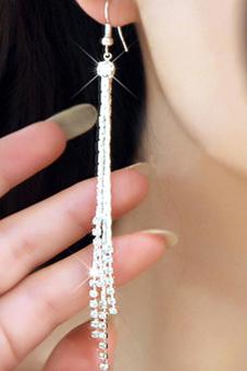 Bluelans Women Rhinestone Party Drop Tassels Linear Earrings Silver