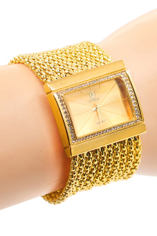 Bluelans(R) Women's Quartz Gold Diamond Case Alloy Band Bracelet Watch
