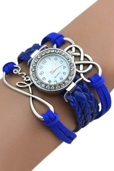 Bluelans Womens Crystal Faux Leather Bracelet Wrist Watch Blue