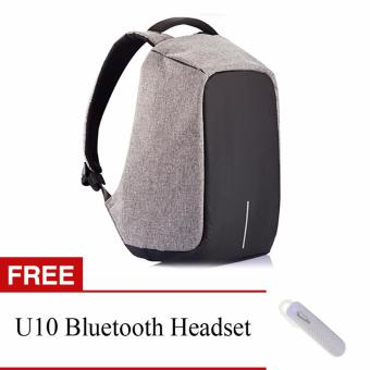 BOBBY Anti-Theft Backpack by XD Design (Grey) with FREE U10Bluetooth Headset (White) Price Philippines