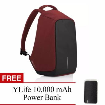 BOBBY Anti-Theft Backpack by XD Design (Red is the new black) WithFREE YLife 10,000 mAh Power Bank (Black)