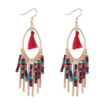 Bohemian elegant female earrings beaded bracelet tassled earrings