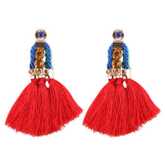 Bohemian red elegant earrings tassled earrings
