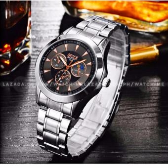 BOSCK Men's Russian Chronograph Style Silver Style Stainless Steel Strap Watch (Black) - 2