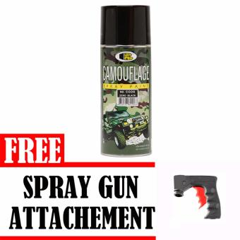 Bosny No. C006 Zero Black Camouflage Spray Paint with Free SprayGun Attachement