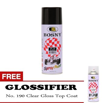 Bosny Spray Paint No. 39 Black Ordinary Color with Free 190 TopCoat Clear Gloss