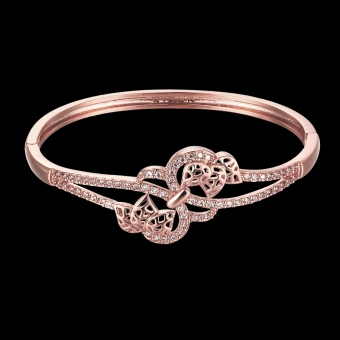 Brass Bangle Bracelet Embedded with AAA Zircon with An Opening & Hollow Leaves Golden & Rose Golden Fashional Accessories for Women (Intl) - picture 2