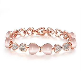 Bridal Opal Bracelets And Bangles With Heart Friendship Jewellery Rose Gold Bracelet Charms With Stones For Women Gift Bages - intl