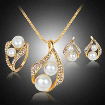 Bridal Wedding Party Jewelry Set Crystal Pearl Necklace EarringsRing - intl