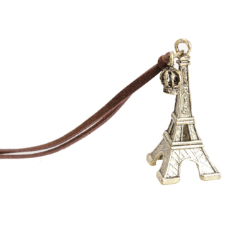 Bronze Color Fashion Cool Beautiful Eiffel Tower Crown Necklace Pendant Chain (Intl)