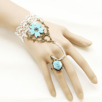 Bronze Rose Finger Ring with Lacework Bracelet Floral Pattern Girl Jewelry
