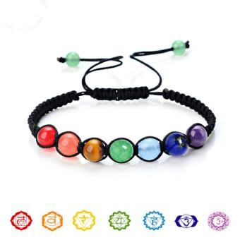 Buddha Beaded Bracelets Arm Cuff Color Stone Lava 7 Chakra HealingAmethyst Agate Charm Bracelets Bangles for Women Men - intl