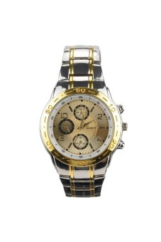 Business Three SubDials Steel Band Watch Gold