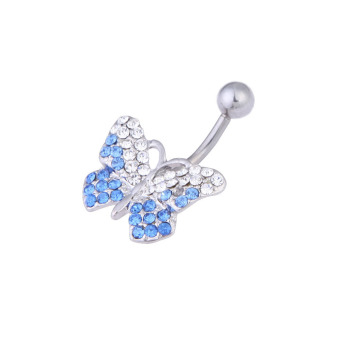 Butterfly Rhinestone Shinning Style Barbell Belly Button Ring Body Piercing - picture 2