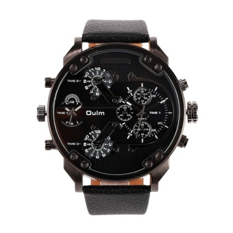Buy 1 Get 1 Free, OULM Brand Big Dial Men' s Army Military Quartz Sport PU Band Wrist Watch - intl Price Philippines