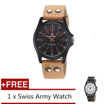 (Buy 1 Get 1 Free) Swiss Army Men's Watches Leather Strap WatchBlack Light Brown + Free Swiss Army Watch Black White - intl
