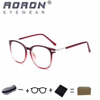 [Buy 1 Get 1 Freebie] AORON Brand Retro Reading Glasses Anti-fatigue Computers Glasses Anti-blue Light Eyeglasses 3631(Transparent Red) - intl