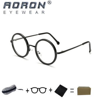 [Buy 1 Get 1 Freebie] AORON Brand Retro Reading Glasses Anti-fatigue Computers Glasses Anti-blue Light Eyeglasses 8811(Black) - intl