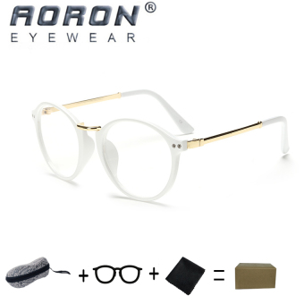 [Buy 1 Get 1 Freebie] AORON Retro Fashion Reading GlassesAnti-fatigue Computers Glasses Anti-blue Light Eyeglasses8803(White) - intl