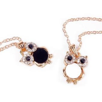 BUYINCOINS Elegant Women Rhinestone OWL Pendant Shell Long Chain Necklace Jewellery Gift (White) - picture 2
