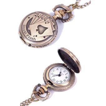 BUYINCOINS Vintage Retro Unisex Poker Pattern Quartz Chain Pendant Pocket Watch Necklace - picture 2
