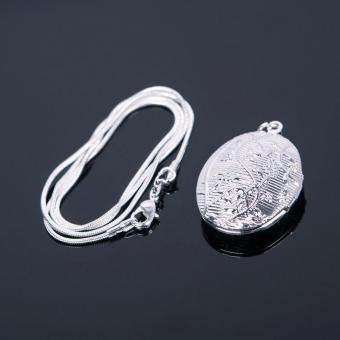 BUYINCOINS Women Silver Plated Oval Photo Picture Locket Pendant Necklace Chain