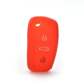 Buytra Car Key Case Cover Silicone For Audi A3 A4 A6 Tt Q7 R8 Red