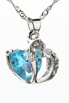Buytra Heart Necklace Silver Plated Pendant Crystal Blue