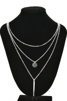 Buytra Pendant Necklace 3 Layers Silver Chain Coin (Silver)