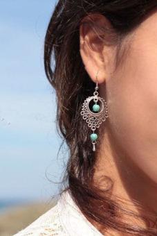 Buytra Turquoise Drop Earrings Tassels Ethnic Vintage