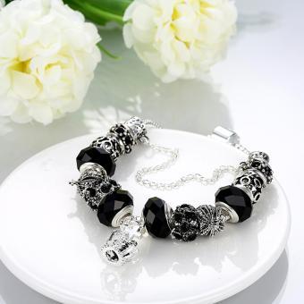 Candy Online Europe Trendy Silver Pandora Charm Bracelet Crystal Bracelet PDRH045 (Black) - 5