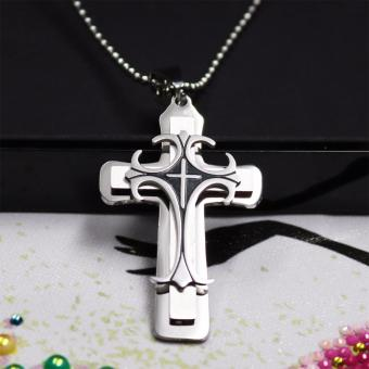 Candy Online Fashion 3-layer Cross Pendant Stainless Steel CrossNecklace EX214 (Silver)