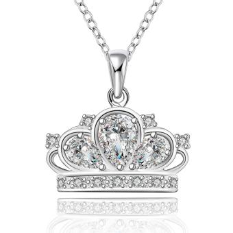 Candy Online Fashion Women's Crown Zircon Silver Pendant Necklace Jewelry LKNSPCN579