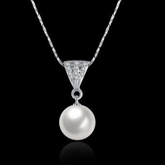 Candy Online Fashion Women's Platinum Water Drop Pearls Pendant Necklace Jewelry LKN18KRGPN641 - 3