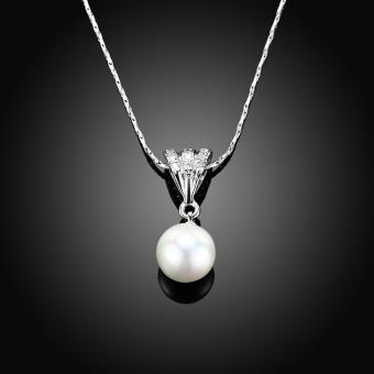 Candy Online Fashion Women's Platinum Water Drop Pearls Pendant Necklace Jewelry LKN18KRGPN641 - 5