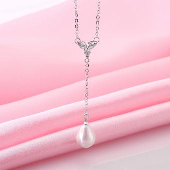 Candy Online Fashion Women's Platinum Water Droplets Pearls Pendant Necklace Jewelry LKNPLN010 - 4