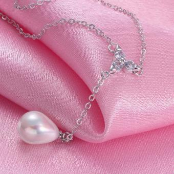 Candy Online Fashion Women's Platinum Water Droplets Pearls Pendant Necklace Jewelry LKNPLN010 - 5