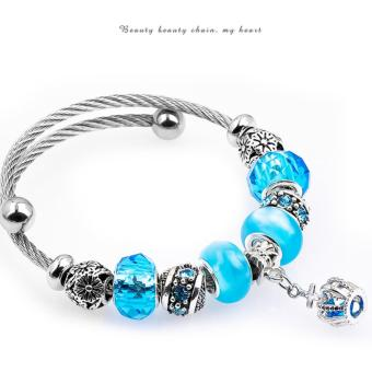 Candy Online Korea 925 Stainless Steel Silver Pandora Charm Crystal Bracelet PDA-167 - 2