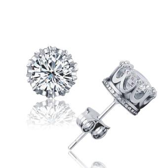 Candy Online Korea Unisex Silver Crown Diamond Stud EarringsJewelry ED17