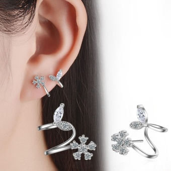 Candy Online Korean Anti-allergic Flower Stud Earrings JewelryED394(Silver)