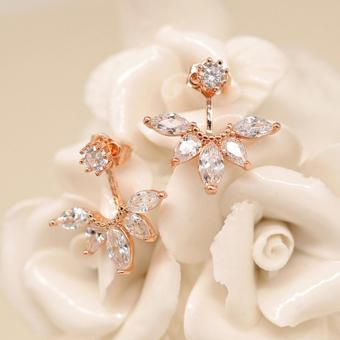 Candy Online Korean Post-hanging Zircon Stud Earrings JewelryED216(Rose Gold) - 2