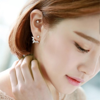 Candy Online Korean Post-hanging Zircon Stud Earrings JewelryED216(Rose Gold) - 3