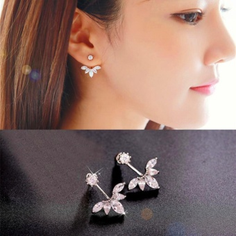 Candy Online Korean Post-hanging Zircon Stud Earrings JewelryED216(Silver)