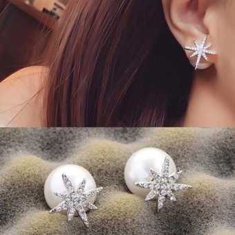 Candy Online Silver Diamond Snowflakes Pearl Double-sided Stud Earrings E422