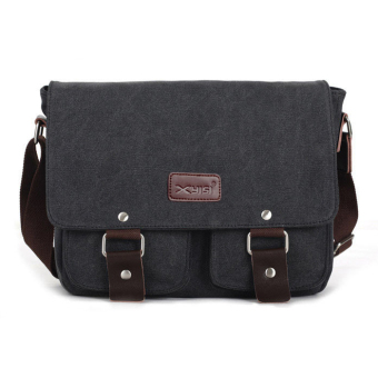 Canvas Messenger Shoulder Sling Bag for Men Students Black